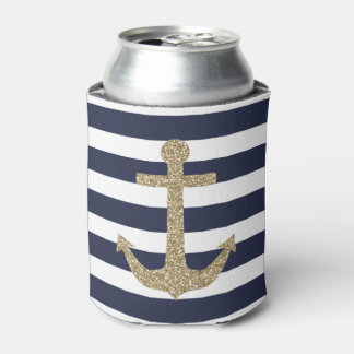 Gold Glitter Anchor Navy/White Stripes Can Cooler