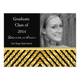 Gold Glitter and Black Graduation Photo Invitation