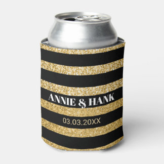 Gold Glitter And Black Stripes- Save The Date Can Cooler