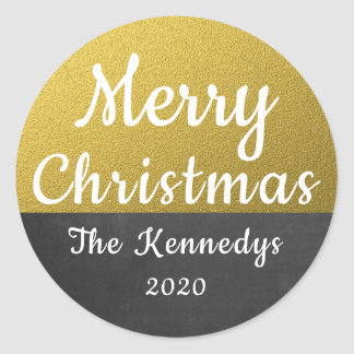Gold Glitter And Chalkboard Merry Christmas Classic Round Sticker