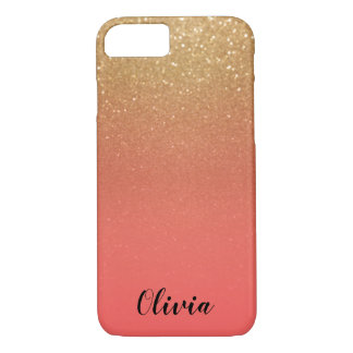 Gold Glitter and Coral - Personalize iPhone 8/7 Case