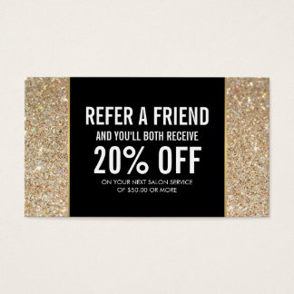 Gold Glitter and Glamour Beauty Referral Card