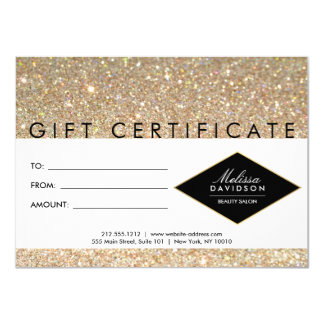 Gold Glitter and Glamour Salon Gift Certificate Card