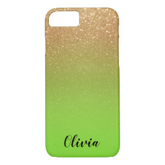Gold Glitter and Lime Green - Personalise iPhone 8/7 Case
