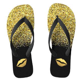 Gold Glitter and Lips Flip Flops