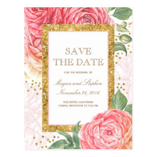 Gold Glitter and Pink Flowers Save the Date Postcard