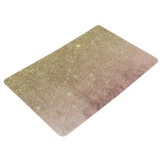 Gold Glitter and Pink Rose Gold Foil Mesh Floor Mat