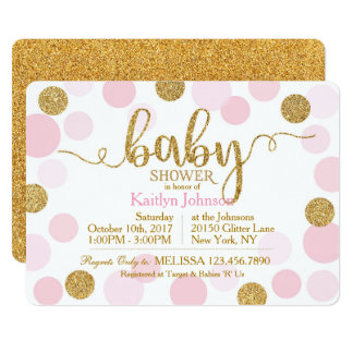 Gold Glitter and Pink Scattered Dots Baby Shower Card