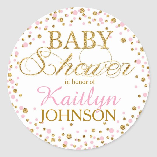 Gold Glitter and Pink Sprinkle Baby Shower Label