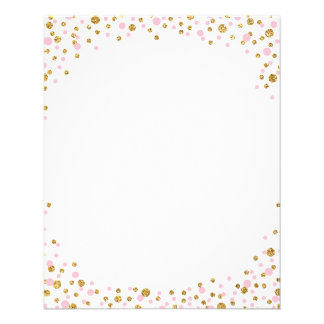 Gold Glitter and Pink Sprinkle Confetti 11.5 Cm X 14 Cm Flyer