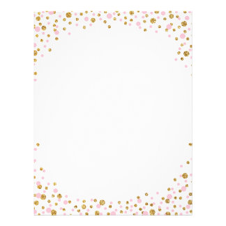 Gold Glitter and Pink Sprinkle Confetti 21.5 Cm X 28 Cm Flyer