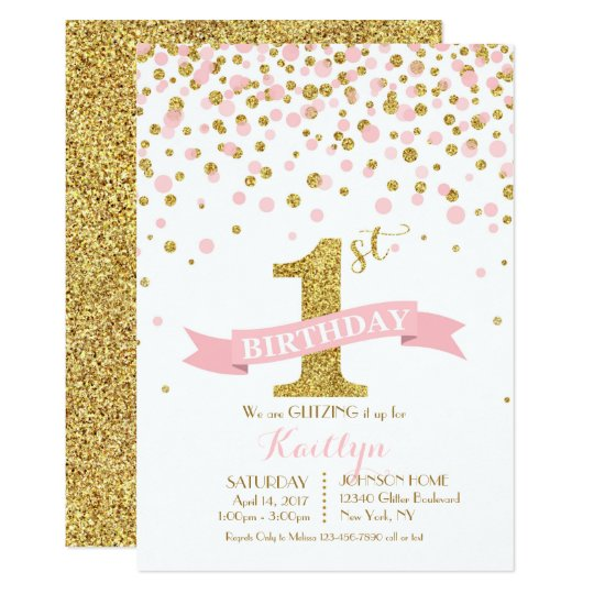 Gold Glitter and Pink Sprinkles Modern Birthday Card