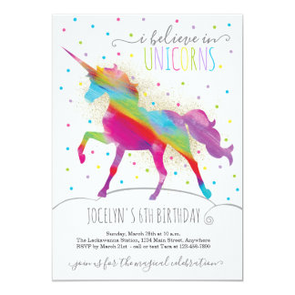 Gold Glitter and Rainbow Unicorn Invitation