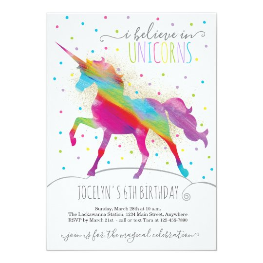 Gold Glitter and Rainbow Unicorn Invitation