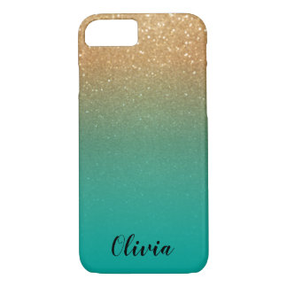 Gold Glitter and Teal - Personalise iPhone 8/7 Case