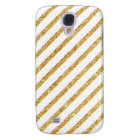 Gold Glitter and White Diagonal Stripes Pattern Galaxy S4 Case