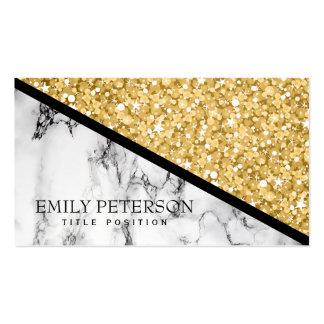 Gold Glitter And White Marble Pack Of Standard Business Cards
