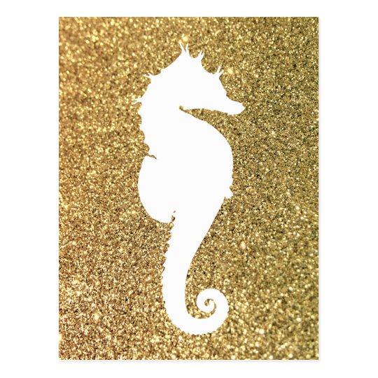 Gold Glitter and White Sea Horse Postcard