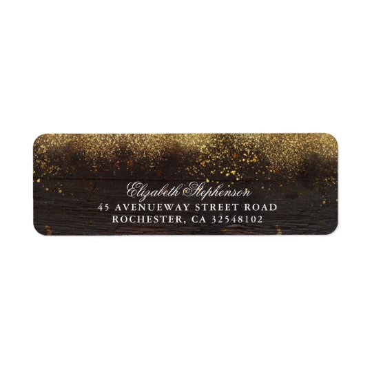 Gold Glitter and Wood Rustic Return Address Label