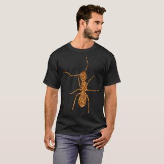 gold glitter ant on black T-Shirt