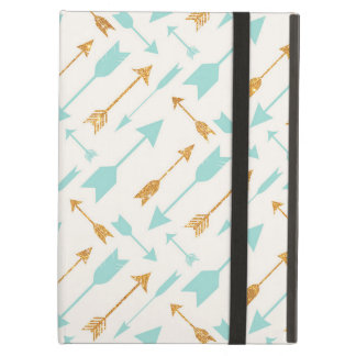 Gold Glitter Aqua Arrows Cover For iPad Air