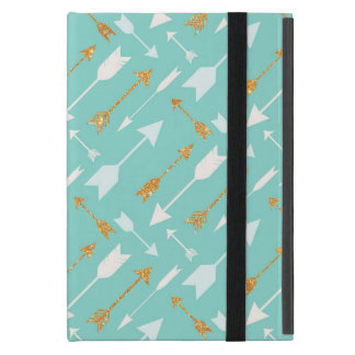 Gold Glitter Aqua Arrows Cover For iPad Mini
