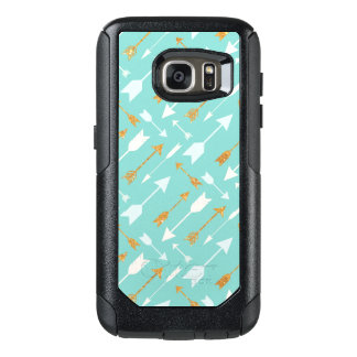 Gold Glitter Aqua Arrows OtterBox Galaxy S7 Case