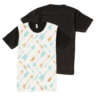 Gold Glitter Aqua Arrows Pattern T-shirt All-Over Print T-Shirt