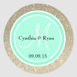 Gold Glitter & Aquamarine Wedding Monogram Label