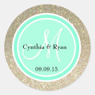 Gold Glitter & Aquamarine Wedding Monogram Label Round Sticker