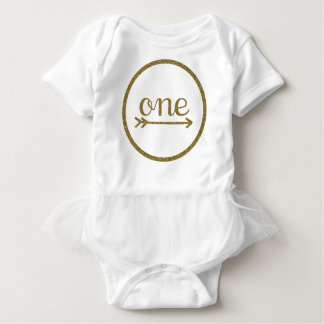 Gold Glitter Arrow One Baby's First Birthday Baby Bodysuit