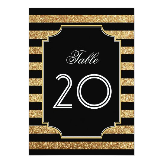 Gold Glitter Art Deco 1920s Table Numbers