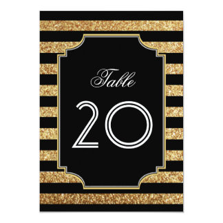 Gold Glitter Art Deco 1920s Table Numbers Card