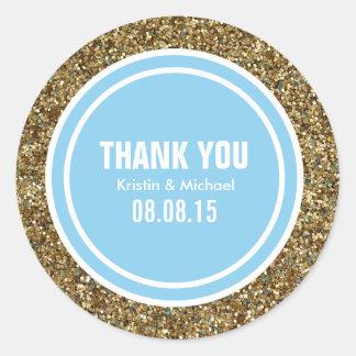 Gold Glitter & Baby Blue Custom Thank You Label Round Sticker
