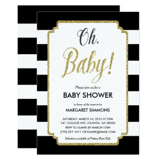 Gold Glitter Baby Shower Invitation, Black & Gold Card