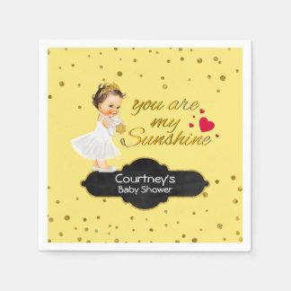 Gold Glitter Baby Shower   Princess Sunshine Song Disposable Serviette