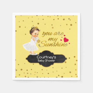 Gold Glitter Baby Shower | Princess Sunshine Song Paper Serviettes