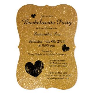 """Gold glitter bachelorette party invitations 5"""" x 7"""" invitation card"""