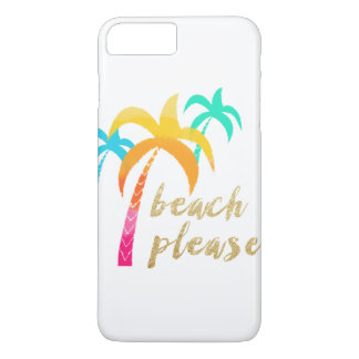 """gold glitter """"beach please"""" with colorful palms iPhone 8 plus/7 plus case"""
