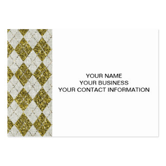Gold Glitter Beige Linen Argyle Pattern Business Card Template