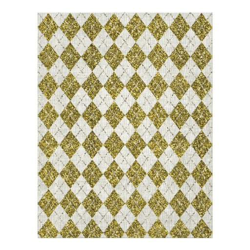 Gold Glitter Beige Linen Argyle Pattern Full Color Flyer