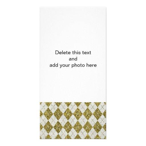 Gold Glitter Beige Linen Argyle Pattern Personalized Photo Card
