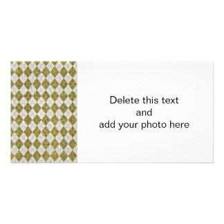 Gold Glitter Beige Linen Argyle Pattern Custom Photo Card