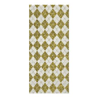 Gold Glitter Beige Linen Argyle Pattern Customized Rack Card