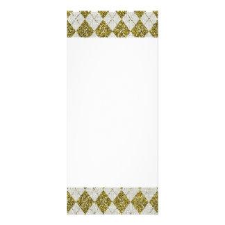 Gold Glitter Beige Linen Argyle Pattern Rack Card
