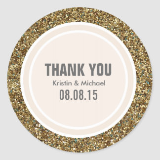Gold Glitter & Beige Thank You Label Stickers