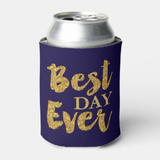 Gold Glitter Best Day Ever Wedding Favors Can Cooler
