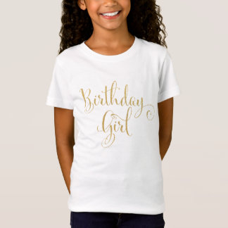 Gold Glitter Birthday Girl T-Shirt Top