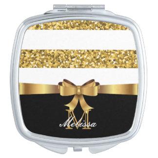 GOLD GLITTER  BLACK AND WHITE GOLDEN BOW MONOGRAM MAKEUP MIRRORS