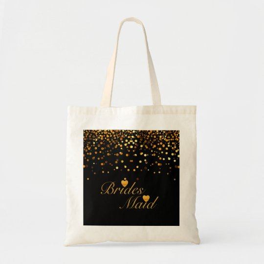Gold Glitter Black Background Heart Bridesmaid Tote Bag
